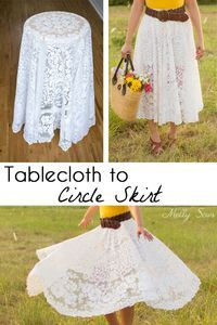 Turn a vintage table cloth into a skirt - sustainable sewing tutorial by Melly S. Turn a vintage table cloth into a skirt - sustainable sewing tutorial by Melly Sews ideas Easy Sewing Hacks, Sewing Tutorials, Sewing Tips, Sewing Patterns Free, Free Sewing, Fabric Crafts, Sewing Crafts, Circle Skirt Tutorial, Diy Kleidung