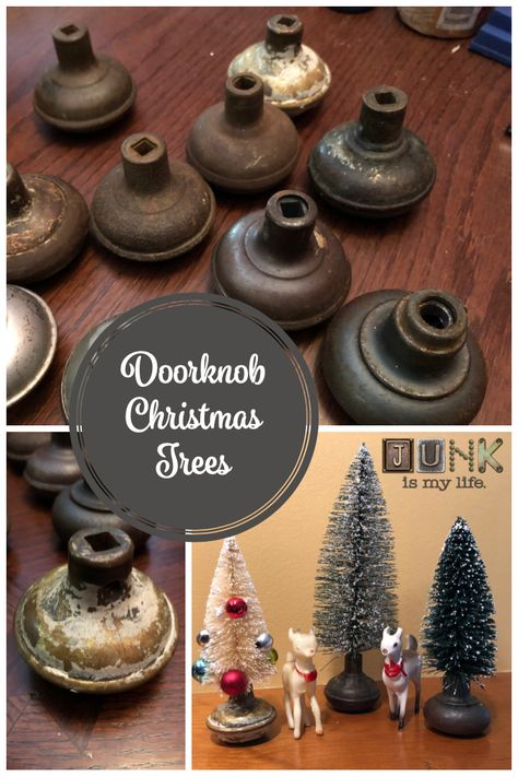 You can find vintage doorknobs at garage sales, auctions, just about anywhere. You can also find bottle brush trees in bulk at most big box stores. Combining the two makes for a magical Christmas decoration. Vintage Christmas Crafts, Christmas Decorations For The Home, Christmas Tree Crafts, Christmas Tablescapes, Magical Christmas, Christmas Makes, Primitive Christmas, Vintage Ornaments, Country Christmas
