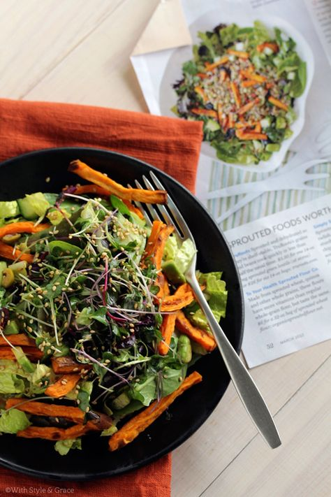 Greens, Sprouts & Sweet Potato Salad