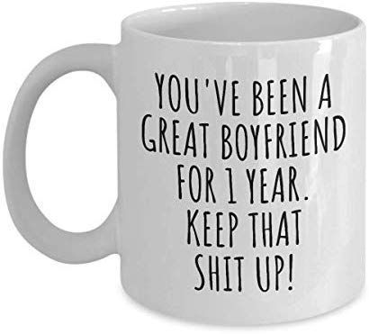Amazon Com 1 Year Anniversary Boyfriend Mug Funny Gift For Bf Him 1st Dating Fi 1st In 2020 1 Year Anniversary Boyfriend Anniversary Boyfriend 1 Year Anniversary