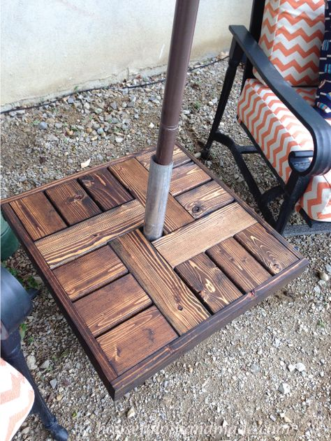 Make Your Own Umbrella Stand Side Table A Houseful Of Handmade Outdoor Umbrella Stand Patio Umbrella Stand Offset Patio Umbrella