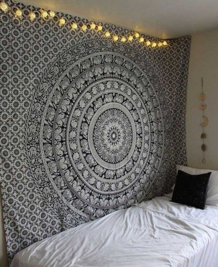 Black And White Floral Hippie Elephant Mandala Tapestry In 2020 Room Tapestry Tapestry Bedroom Elephant Tapestry