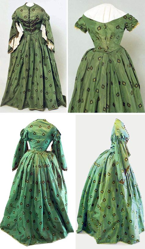 Wedding dress, circa 1860. Green silk taffeta patterned with motif of yellow rosebud inside a black diamond. Two bodices, one day and one evening. Hand-sewn. South Canterbury (NZ) Museum via eHive.