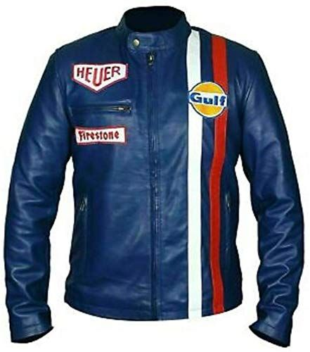 New Vintage Heuer Gulf Steve Mcqueen Mans Motorcycle Biker Hi Quality Leather Jacket Mens Coats J Striped Leather Jacket Leather Jacket Men Blue Leather Jacket