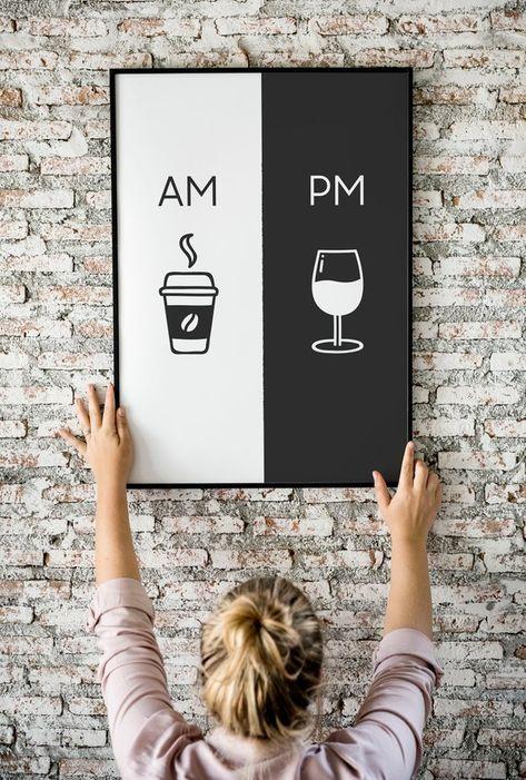 Uhr druckbare Kunst Küche Poster Kaffee & Wein-Dekor | Etsy
