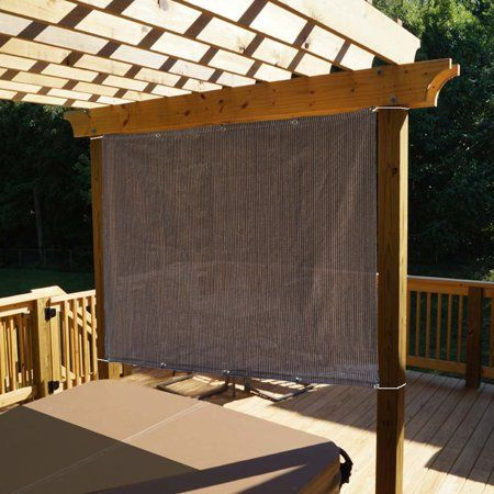 Alion Home Mocha Brown Sun Shade Panel Privacy Screen With Grommets On 4 Sides For Outdoor Patio Awning Window Cover Pergola Or Gazebo 200 Gsm 6 X 6 Wa Outdoor