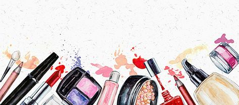 hand-painted watercolor background makeup cosmetics