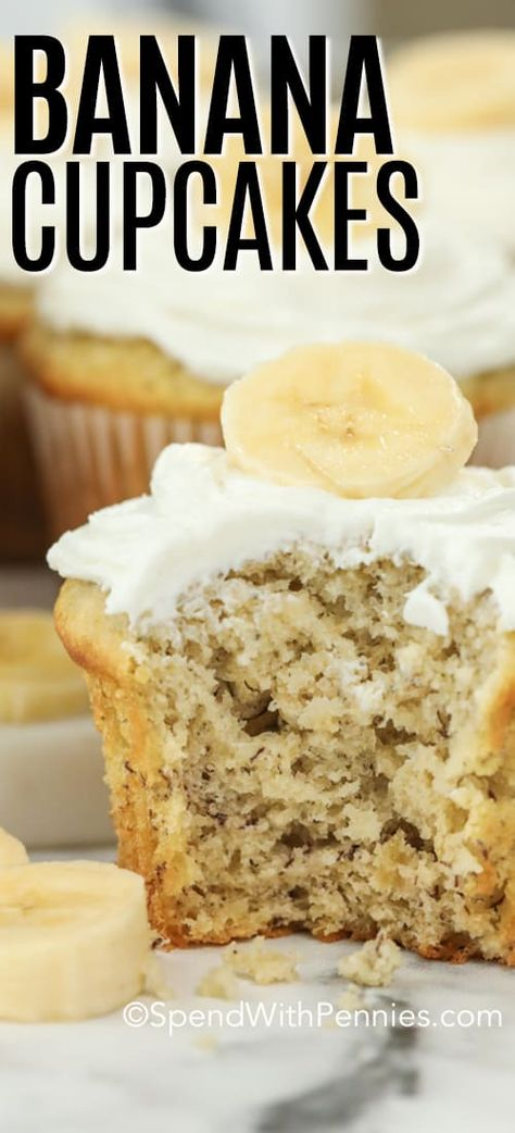 cupcake recipes This easy banana cupcake recipe is a family favorite. Made from scratch, just like my grandpa, this recipe turns out moist and fluffy every time. Top with cream cheese frosting or my personal favorite Nutella icing. Köstliche Desserts, Delicious Desserts, Yummy Food, Easy Banana Desserts, Desserts With Bananas, Banana Recipes Easy, French Desserts, Plated Desserts, Food Cakes