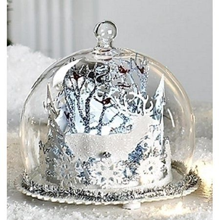 4 Battery Operated Led Lighted Layered Winter Scene Christmas Table Top Decoration Walmart Com Christmas Table Top Decorations Christmas Table Glass Cloche Display