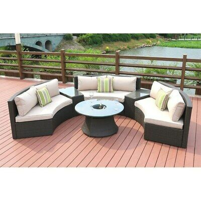 6 Piece Outdoor Wicker Half Round Sectional Sofa Set By In 2020 Wicker Outdoor Sectional Pallet Furniture Outdoor Round Sofa