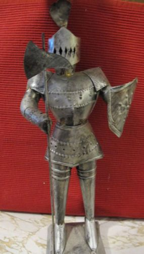 Sculpture Vtg Tin Metal Medieval Knight In Armor Figure Statue