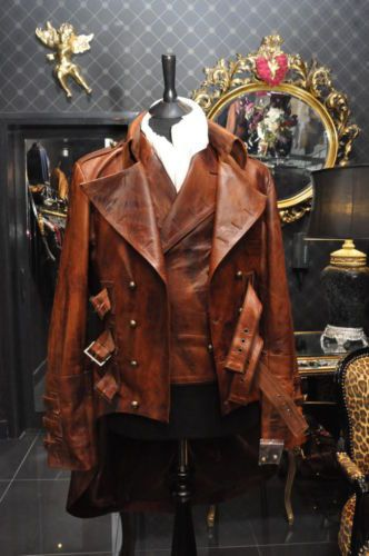 Mens-Steampunk-Dieselpunk-leather-military-victorian-mourning-jacket-tailcoat