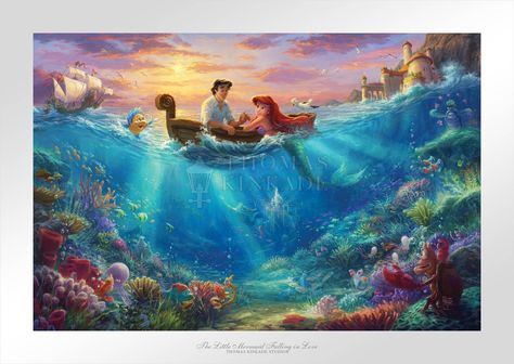 Little Mermaid Falling in Love - Limited Edition Paper - 24 x 36 / SN-Space Gray