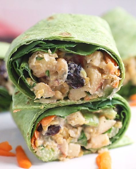 Vegan Pecan Apple Chickpea Salad Wraps with creamy maple dijon tahini dressing. Takes 15 minutes to make and no cooking required. Great for a healthy lunch!