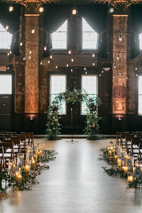 rustic loft wedding aisle decoration ceremony decorations 30 Indoor Wedding Ceremony Arches and Aisle Ideas Indoor Wedding Arches, Indoor Wedding Ceremonies, Wedding Ceremony Arch, Wedding Aisle Decorations, Wedding Ideas, Wedding Aisles, Wedding Backdrops, Ceremony Backdrop, Outdoor Weddings