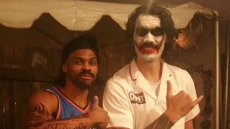 Mustached Westbrook dressed up as Steven Adams