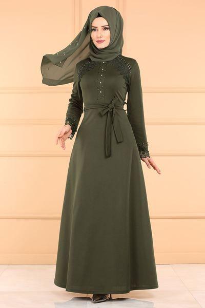 Modaselvim Elbise Dantel Detay Tesettur Elbise Pl828 Haki Baju Muslim Model Produk