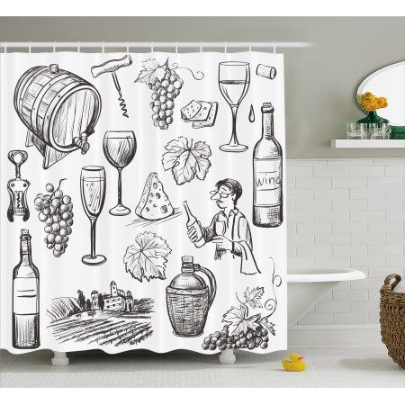 Wine Shower Curtain Hand Drawn Wine Set In Sketch Style Vintage