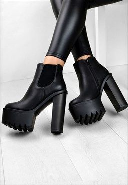high heel chunky ankle boots
