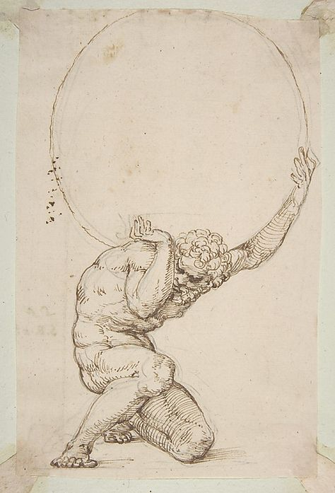 """Art Department - Crouching Figure of Atlas Baldassare Tommaso Peruzzi (Italian, Ancaiano Rome); On verso, annotated in pen and brown ink, by the hand usually identified with the """"Borghese Sagredo"""" album (Zaccaria Sagredo? Inspiration Art, Art Inspo, Art Sketches, Art Drawings, Tattoo Drawings, Renaissance Kunst, Portrait Renaissance, Italian Renaissance, Art Du Croquis"""