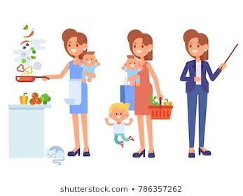 Multitasking Woman Business Woman And Housewife Mother With Baby Working Cooking And Make A Shoppin Cartoon Illustration Woman Illustration Business Women