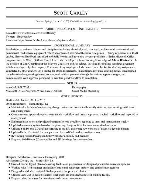 Scott Carley - Resume Pg 1 Resume-Scott Carley - CAD Drafter - resume components
