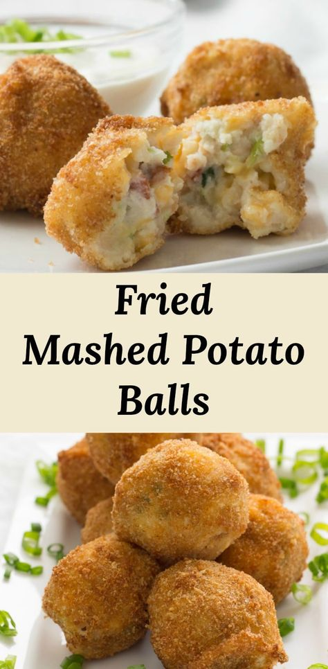 Mashed Potato Balls Recipe loaded with bacon and cheese. Turn leftover mashed potatoes into a crunchy deep fried snack or appetizer. Ideal for gameday and cocktail parties. Kid-freindly too! recipe deep Loaded Mashed Potato Bites with Bacon Mashed Potato Balls Recipe, Fried Mashed Potatoes, Loaded Mashed Potatoes, Mashed Potato Recipes, Cheesy Potatoes, Baked Potatoes, Fried Cheese Balls Recipe, Potato Recipe For Kids, Fried Potato Cakes