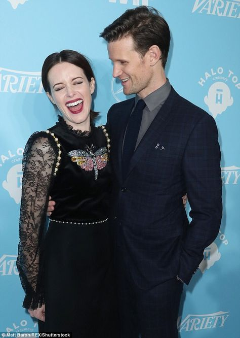 We are amused: Stars of the royal drama The Crown Matt Smith, 34, and Claire Foy, 33, shared a joke at a pre-Emmy event in Los Angeles on Friday