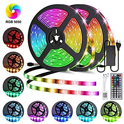 Amazon Com Led Strip Lights Goadrom Waterproof 16 4ft 5m Flexible Color Changing Rgb Smd 5050 150leds Le In 2020 Led Strip Lighting Strip Lighting Flexible Led Light