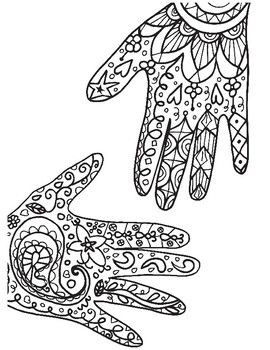 Henna Hands Coloring Pages Coloring Pages Hand Coloring Elementary Art Lesson Plans