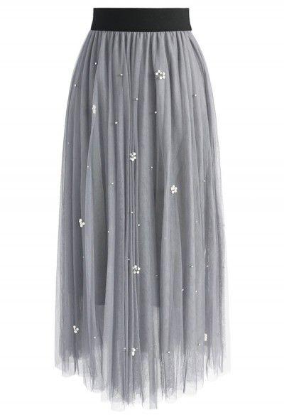 Meine Feengeschichte – Grauer Tüllnetzrock mit Zechinen - Retro, Indie and Unique Fashion