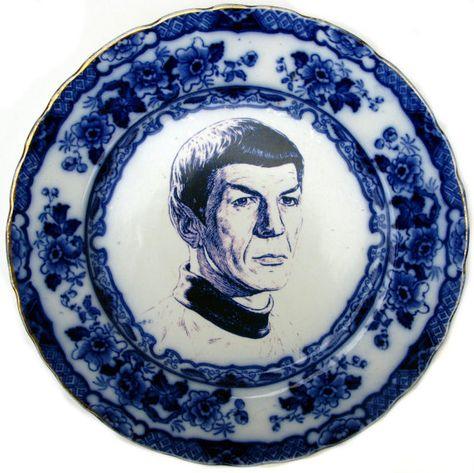 Flow Blue Spock Portrait Plate - Altered Antique Plate.