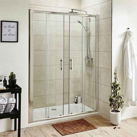 Turin 1400mm Double Sliding 8mm Easy Fit Shower Door Victorian Plumbing Shower Doors Frameless Sliding Shower Doors Shower Enclosure