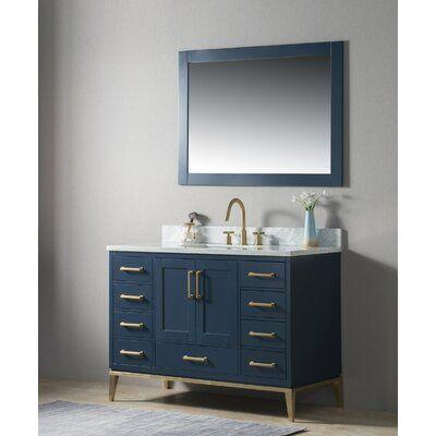 Gracie Oaks Motta 48 Single Bathroom Vanity Set With Mirror Base Finish Blue Single Bathroom Vanity Vanity Set With Mirror Double Vanity Bathroom