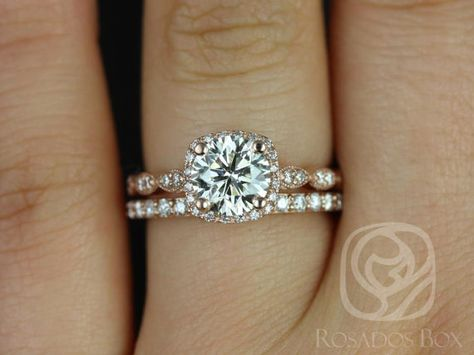 430c6d3e239a3 Christie 7mm   Taylor 14kt Rose Gold FB Moissanite and Diamond Halo WITH  Milgrain Wedding Set (Other metals and stone options available)