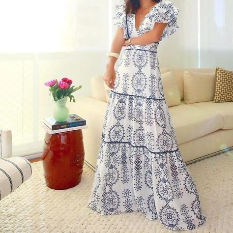 Blown Away By You Printed Maxi Dress
