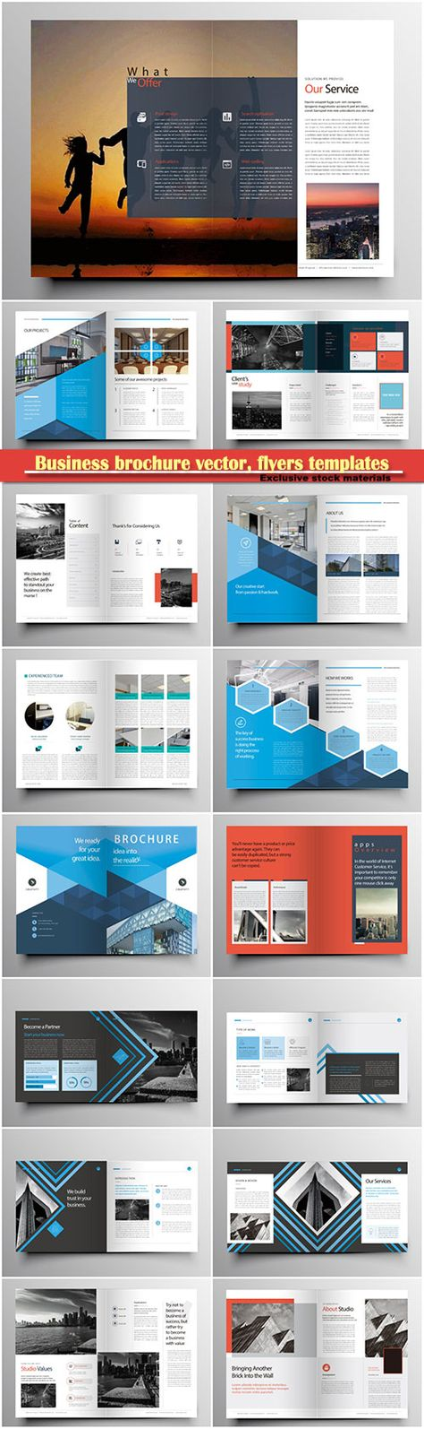 Download Business brochure vector flyers templates report cover - business pamphlet templates