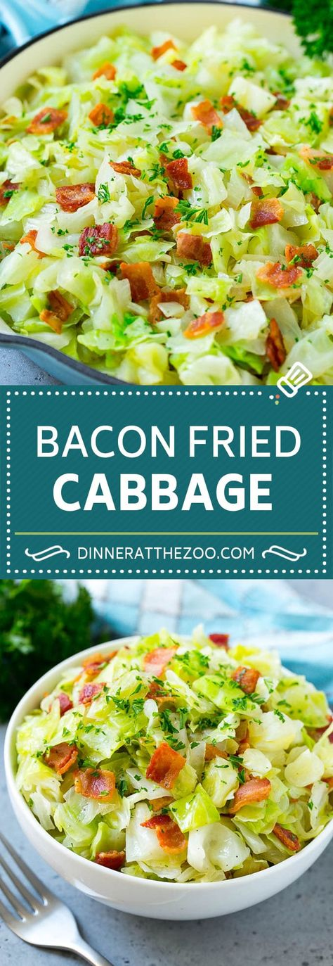 Fried Cabbage Recipe | Cabbage with Bacon | Cabbage Side Dish #cabbage #bacon #sidedish #lowcarb #keto #dinneratthezoo