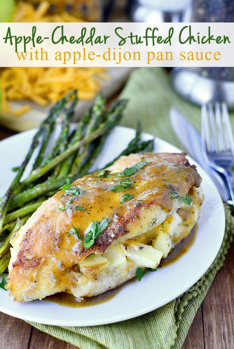 Apple-Cheddar Stuffed Chicken with Apple-Dijon Pan Sauce is an absolutely delicious toss-together supper using fridge and pantry staples. | iowagirleats.com