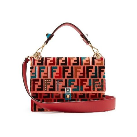 82e73fadf421 Fendi Kan I logo-print velvet shoulder bag (162.369.365 VND) ❤ liked on  Polyvore featuring bags