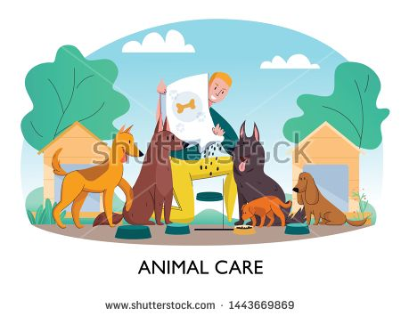 Stock Vector Animal Shelter Feeding Dogs Composition With Text And Outdoor Landscape With Man Feeding Homeless Stray Dog Animal Shelter Dog Feeding Dog Vector