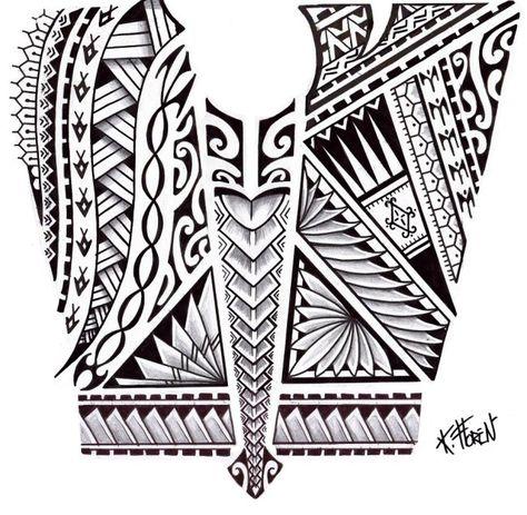 Dessin de Tatouage Maori aux Bandes de Symboles