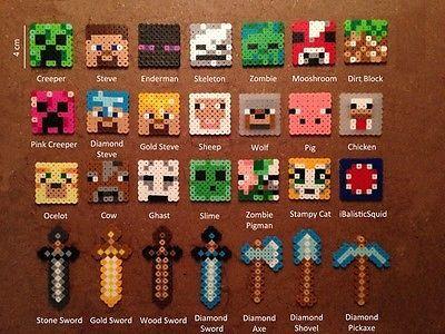 Minecraft Perler Bead Magnet Keychain Necklace Pixel Art Handmade From Beads Minecraft Beads Hama Beads Minecraft Minecraft Perler