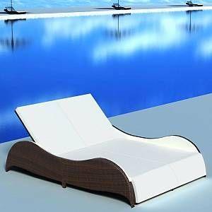 Pool Ideas Discover Vidaxl Chaise Longue Double Avec Coussin Resine Tressee Marron Cette Chaise Double Chaise Lounge Outdoor Sun Lounger Outdoor Chaise Lounge