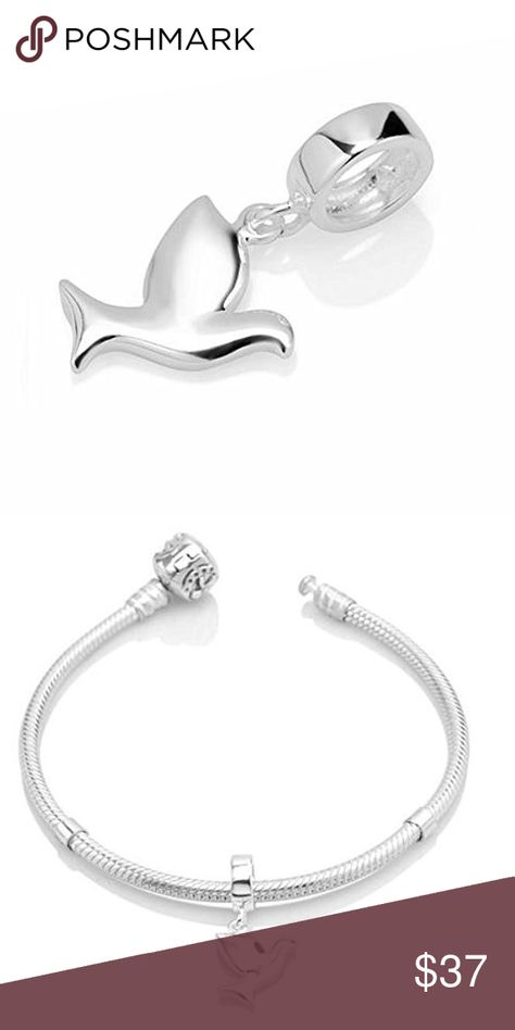 The Dove Charm 925 Sterling Silver Bird Beads Peace Charm fit for Charms Bracelets Dove