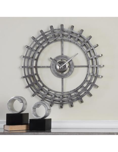 With A Unique Three Dimensional Open Frame And Hand Forged Iron Construction This Alphonse Wall Clock Will Bring An Indus Wandklok Huis Ideeen Decoratie Klok