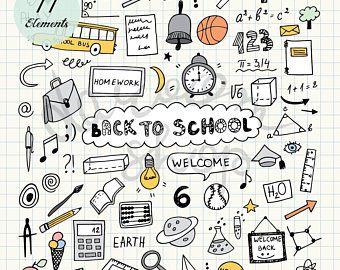 Hand Drawn School Clip Art Physics Elements And Symbols Back Etsy Kartinki Risunki