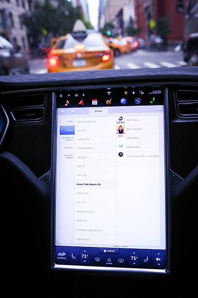 A Touchscreen Control Panel Displays Entertainment Features Just Prior To The Tesla Motors Inc 80 Software Update Inside A Model S P90d V Control Entertainment