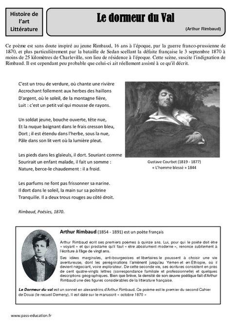 Le Dormeur Du Val Date : dormeur, Arthur, RIMBAUD, Dormeur, Rimbaud, Poeme,, Litterature,, Poeme