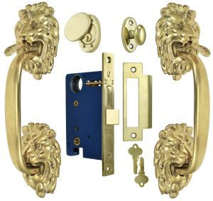 Victorian Inspired Lion Head Thumb Latch Entry Door Set With Locking Mortise Zlw202set Vintage Hardware Door Sets Entry Doors